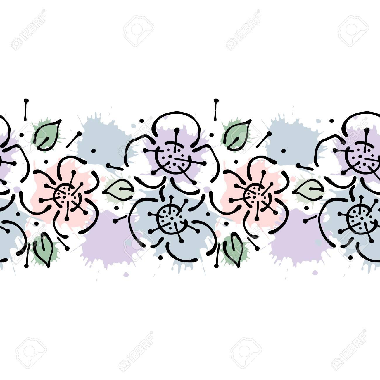 Vector Sin Costuras Dibujado A Mano Patrón Floral, Frontera Sin Fin ...