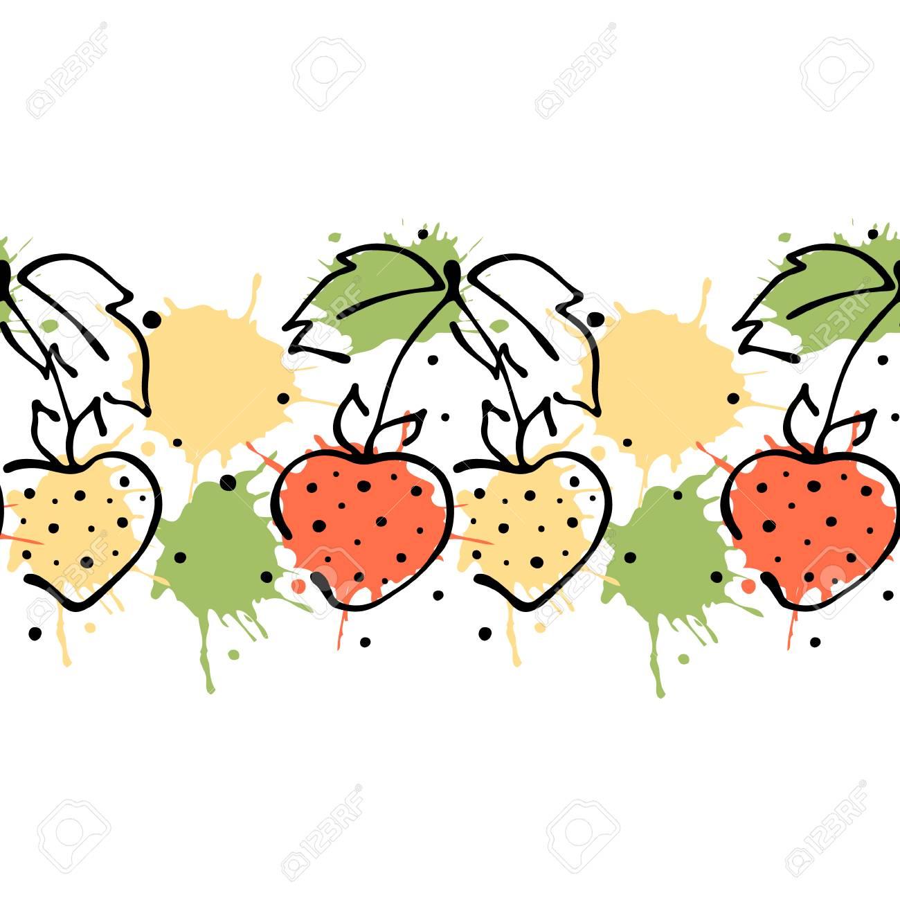 vector fruits seamless pattern decorative border orange with rh 123rf com