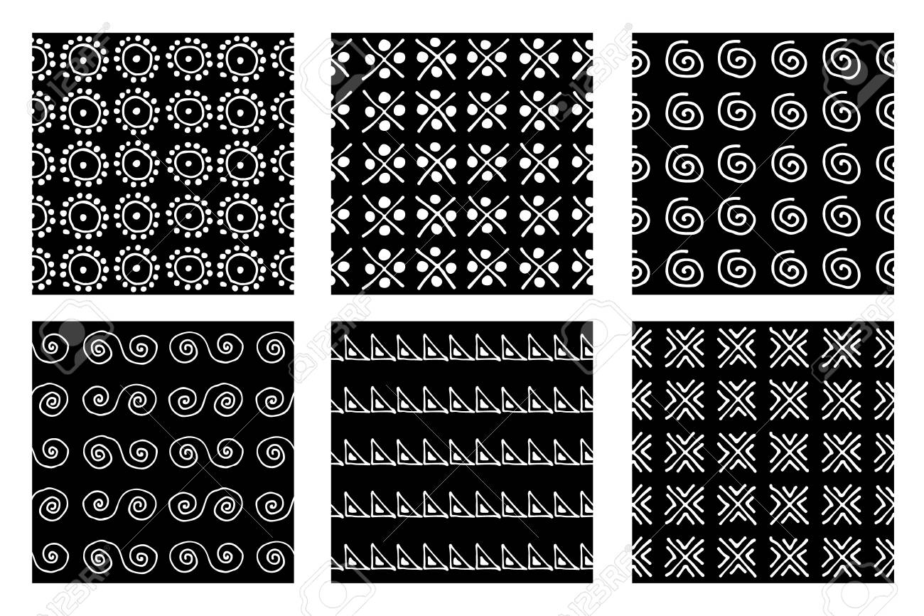 set of seamless vector patterns. black and white geometrical