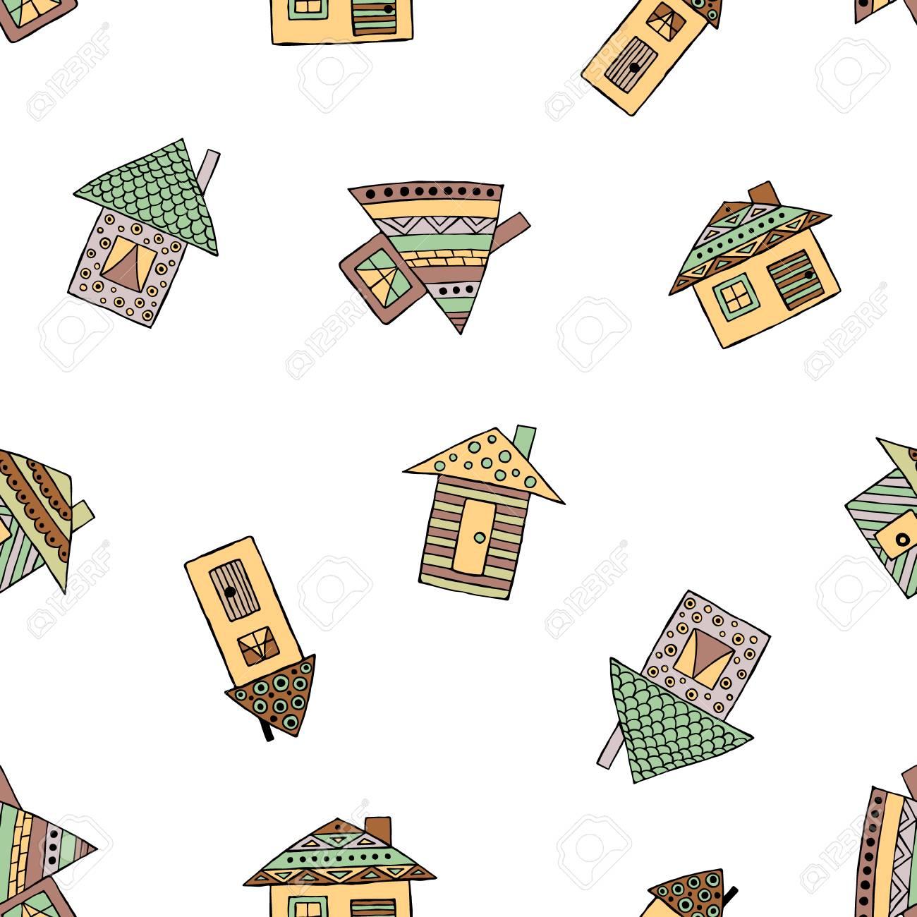 Vector Dibujado A Mano Patrn Transparente Casas Infantiles