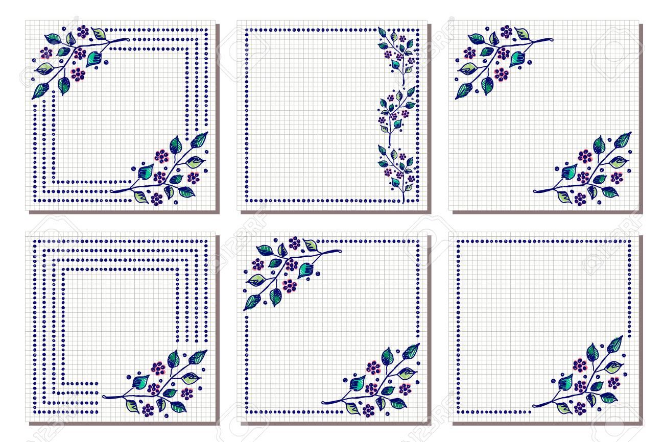 Set Of Vector Floral Frame Card Border Greeting Cards Different