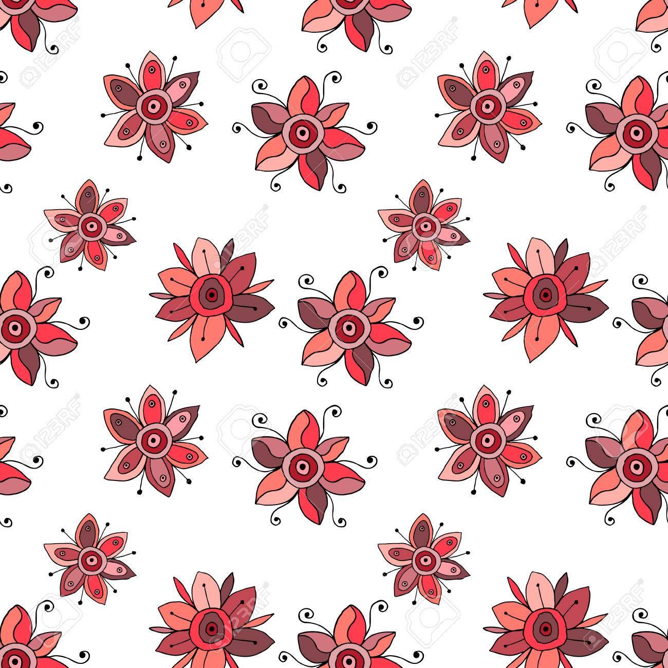 Mano De Vector Sin Fisuras Dibujado Dibujo Infantil Patron Floral