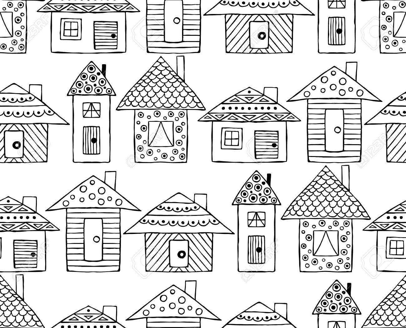 80738355 disegno a mano senza soluzione di continuit%C3%A0 vettoriale case decorative stilizzate in bianco e nero in