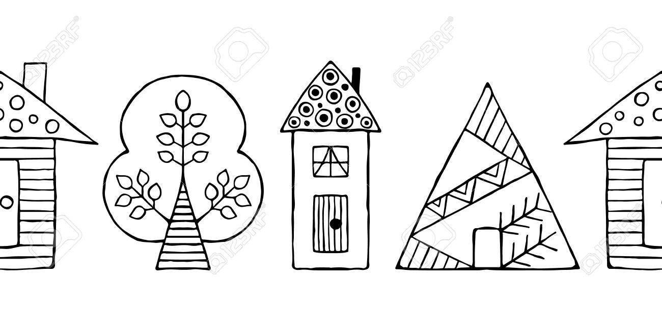 80758399 vector disegnati a mano senza soluzione di continuit%C3%A0 decorativi stilizzati in bianco e nero case infa