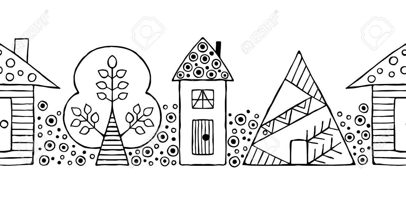 Vector Dibujado A Mano Sin Patrn Decorativo Estilizado En Blanco Y