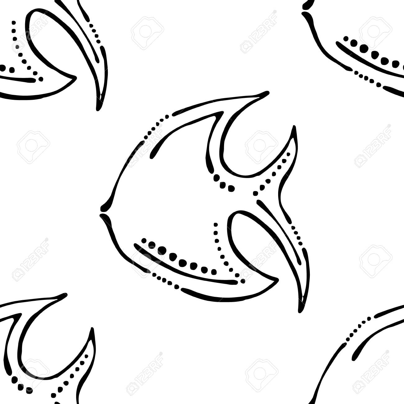 Seamless Vector Pattern Cute Background With Animals Black