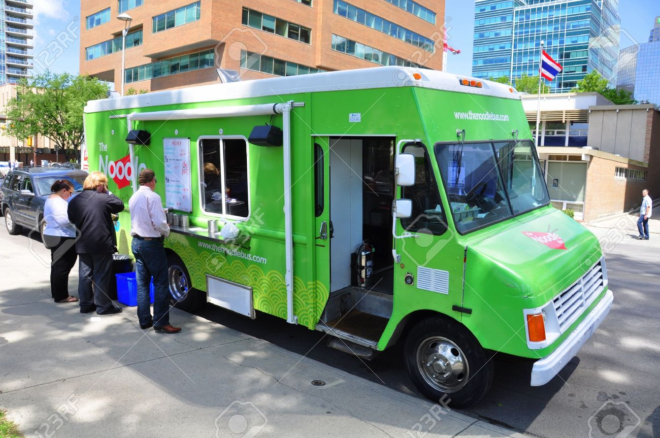 Noodle Wagon Food Truck Selling High End Cuisine To Office Workers In The Urban Center Of