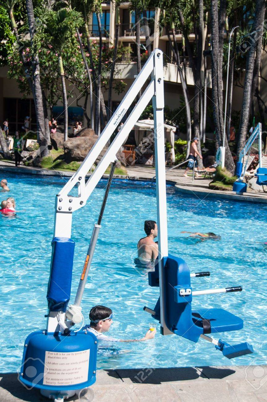 ADA standard disabled person pool lift used at swimming pools..
