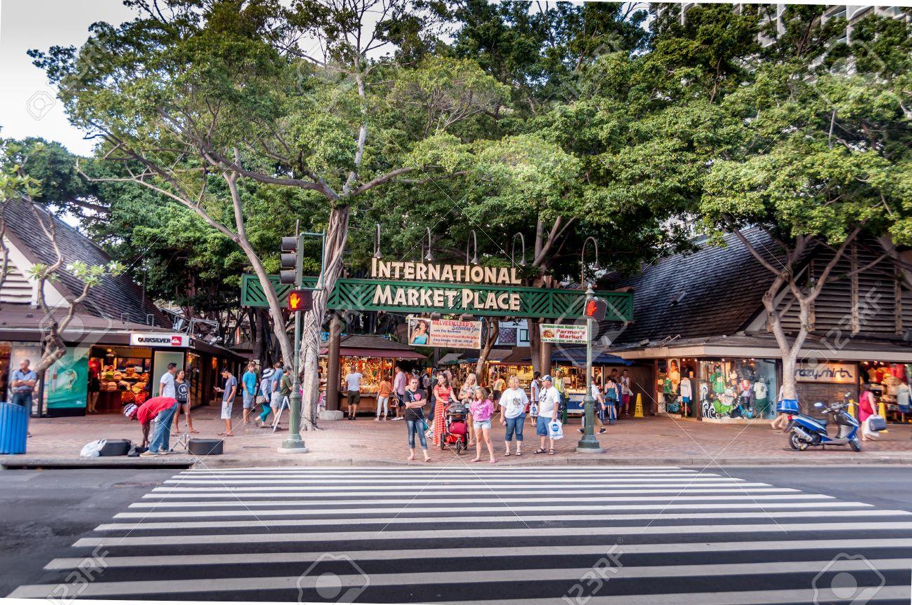 e9e657f102b International Market Place in the evening along the famous Kalakaua  shopping district in Waikiki