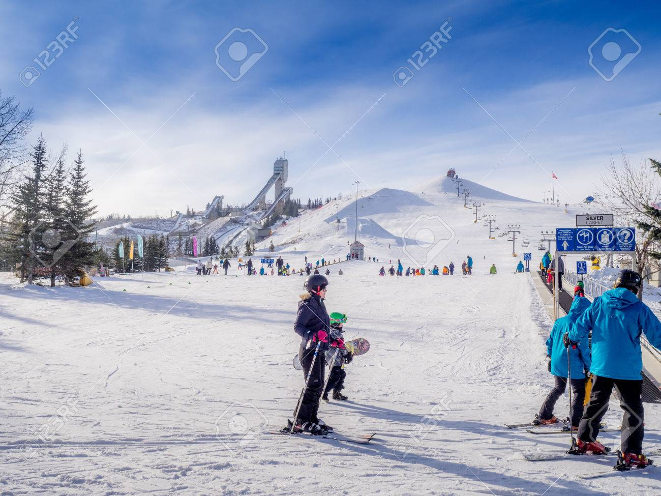 skiing at canada olympic park in calgary alberta. stock photo