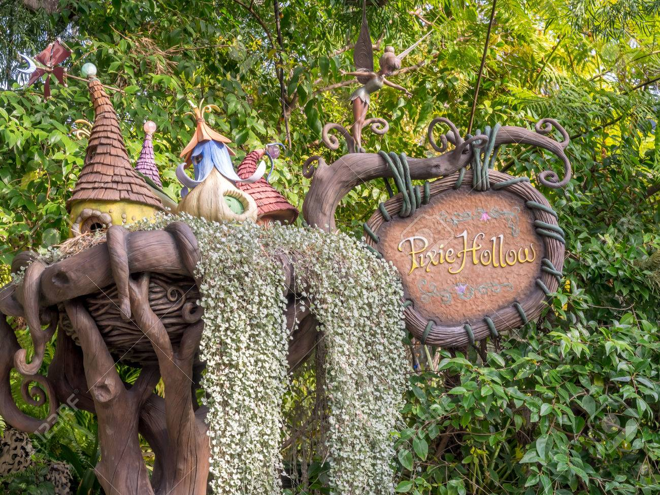 ANAHEIM, CALIFORNIA - FEBRUARY 14: Entrance sign to Pixie Hollow