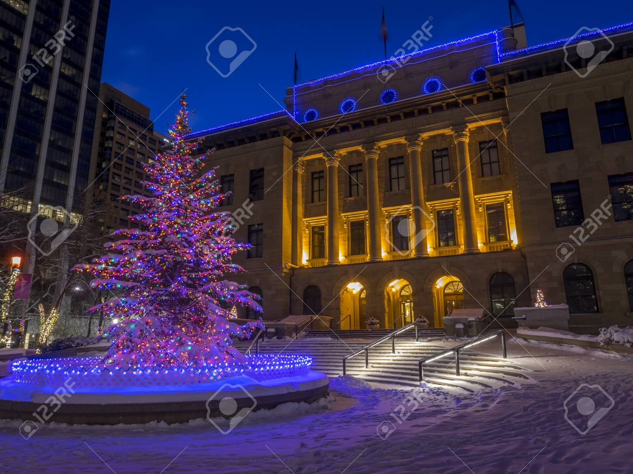 An Urban Park In Calgary At Night All Decorated For Christmas With Beautiful  Christmas Lights.