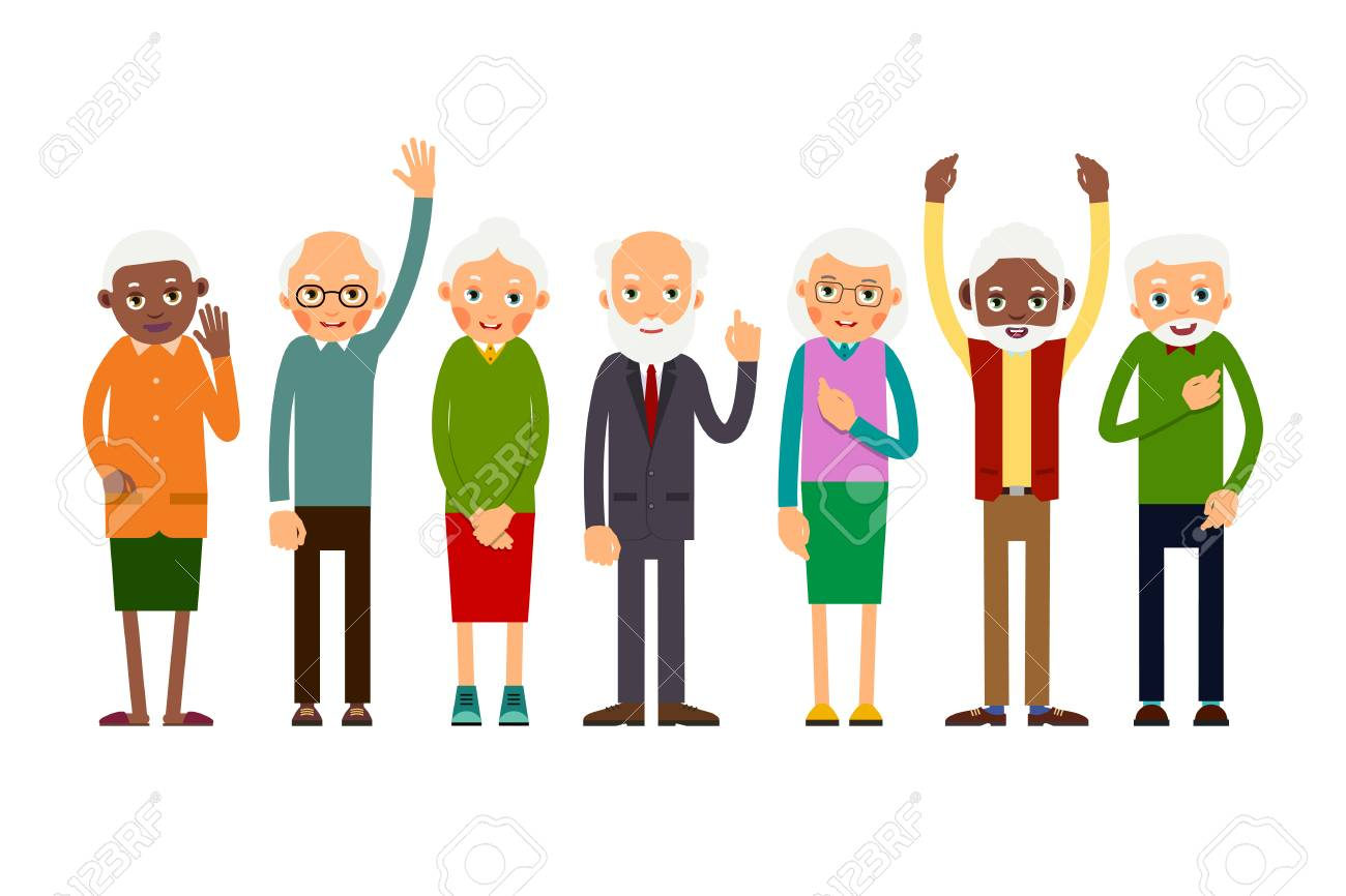 Group of gesticulating elderly people. Aged people caucasian and african. Elderly men and women. Illustration in flat style. Isolated - 90835556