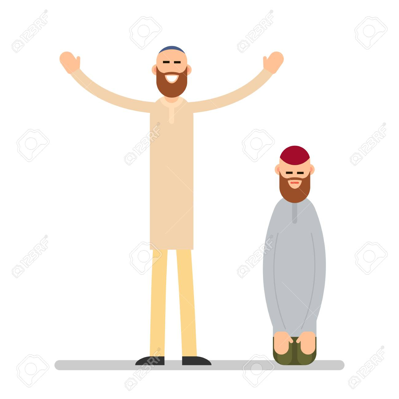 Muslim Praying Two Muslim Arabic Men In Different Suit And Traditional Royalty Free Cliparts Vectors And Stock Illustration Image 103048713