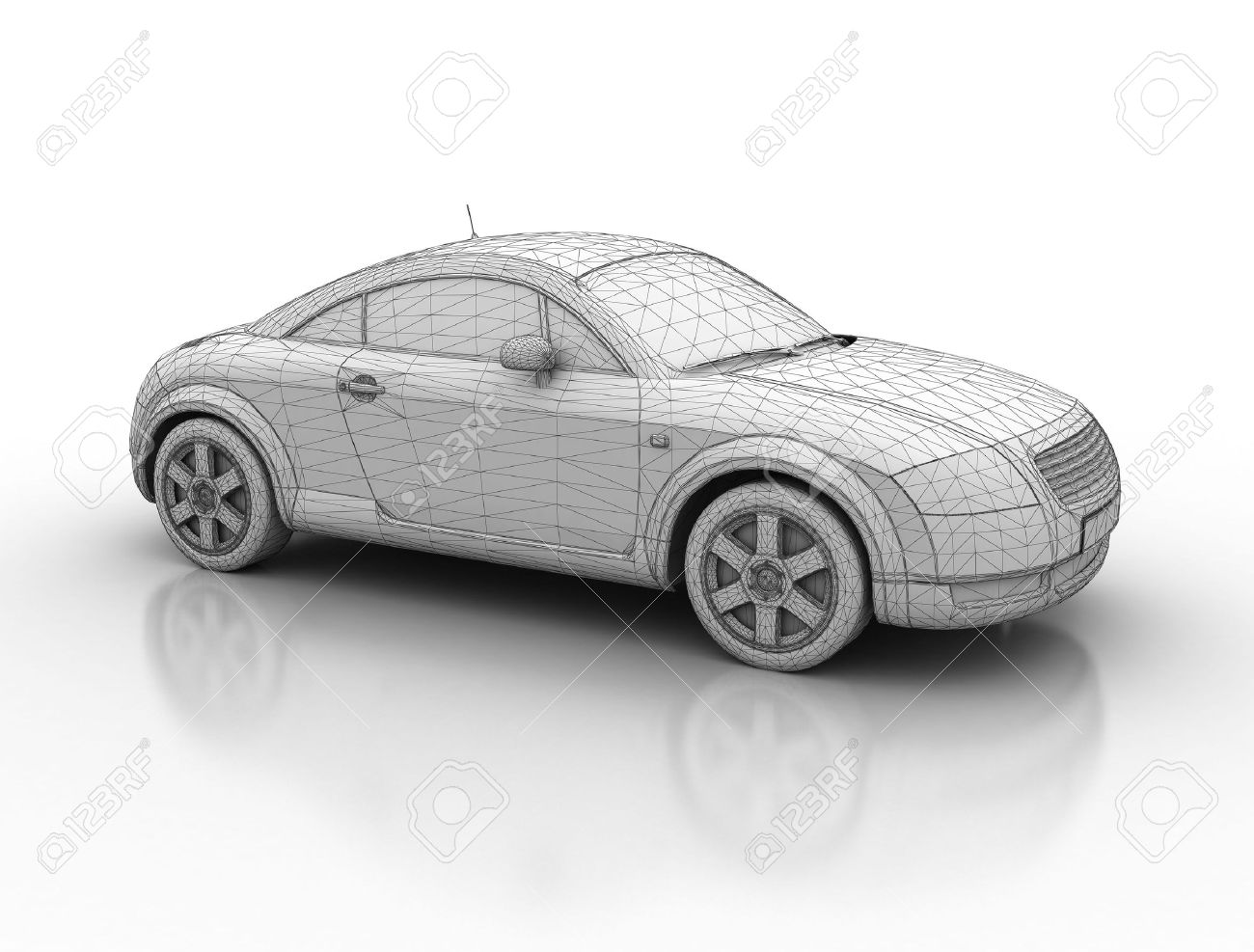 Sporty Car Wireframe 3d Model Stock Photo Picture And Royalty Free
