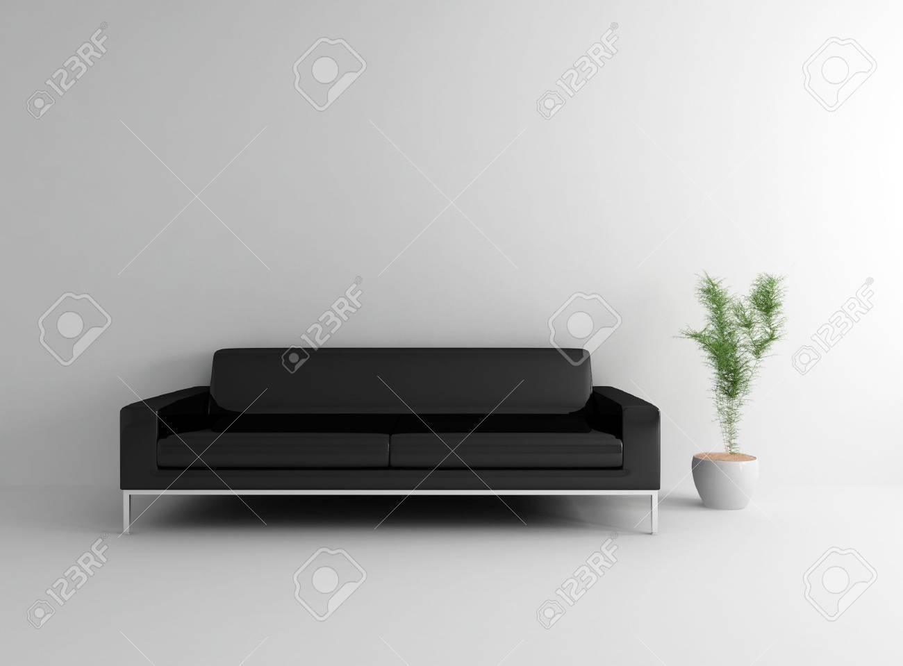 Divano Nero Moderno : Pianta e moderno divano nero con foto royalty free immagini