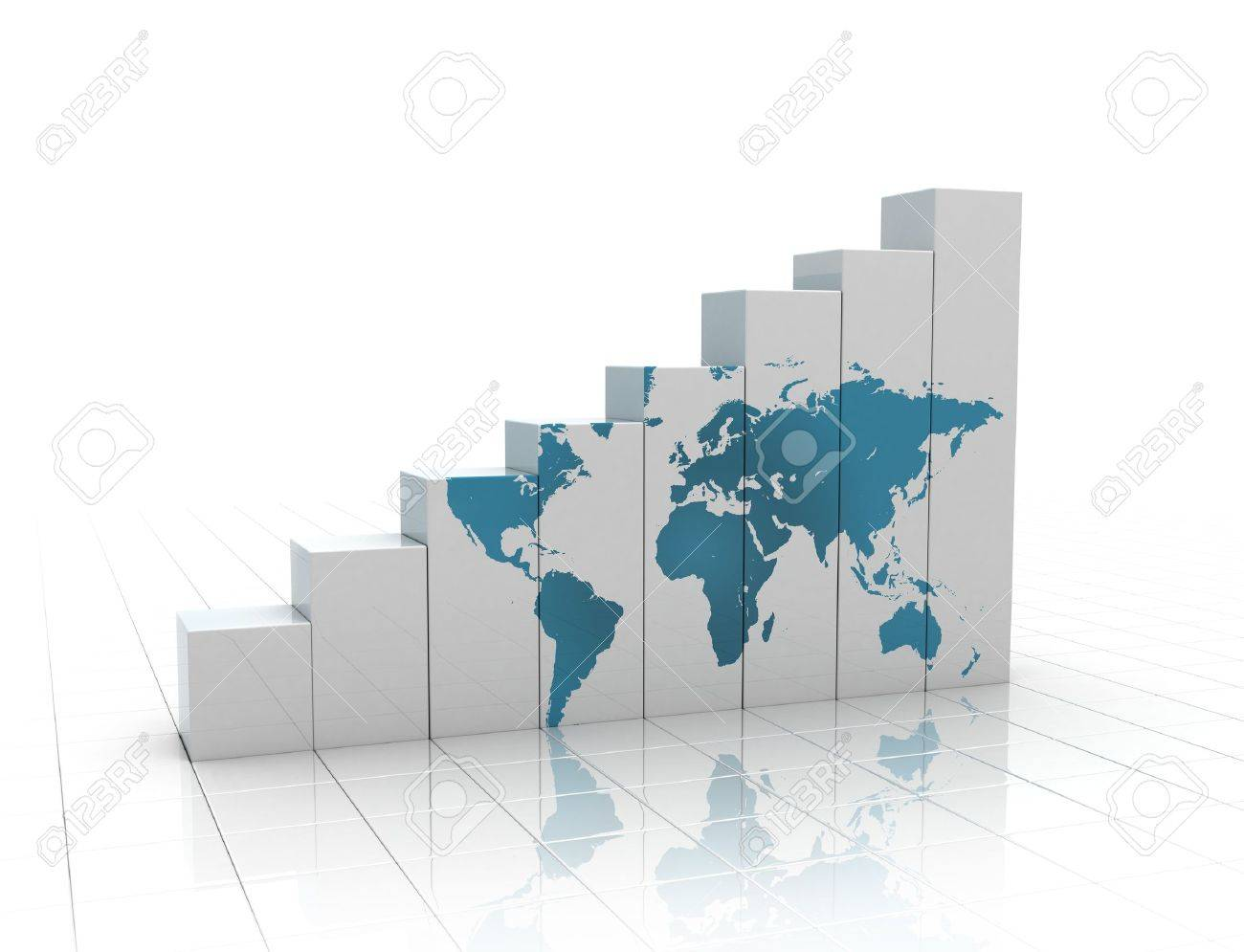 Rising graph with world map Stock Photo - 8248937