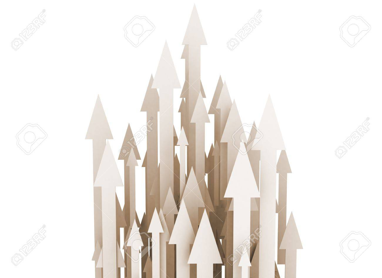 Many rising 3D arrows on white background Stock Photo - 10051662