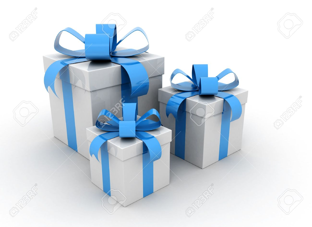 gift boxes over white background 3d render Stock Photo - 10569299