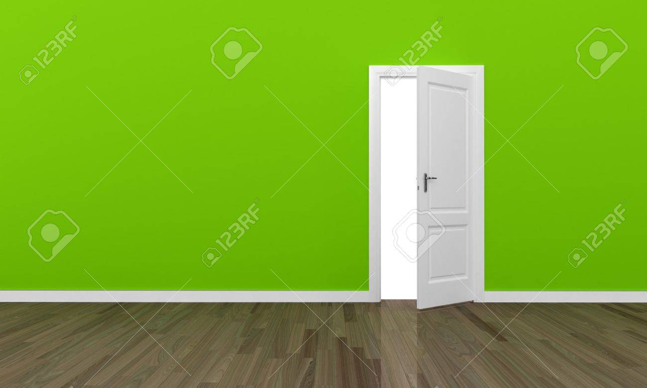 Open door and large green wall - eco concept Stock Photo - 14637025