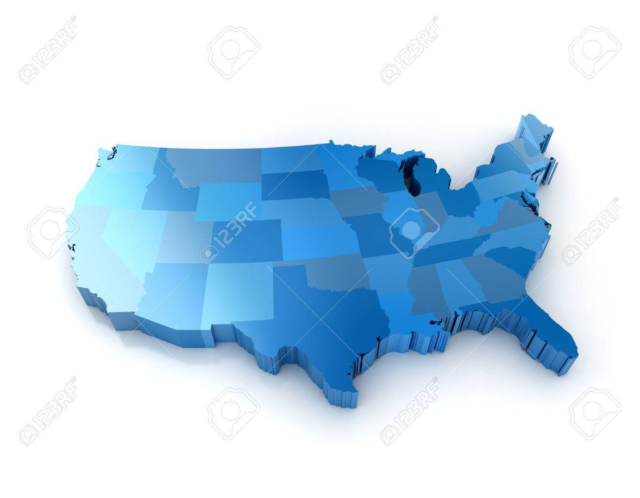 Us Map Stock Vector Illustration And Royalty Free Us Map - Us 3d map