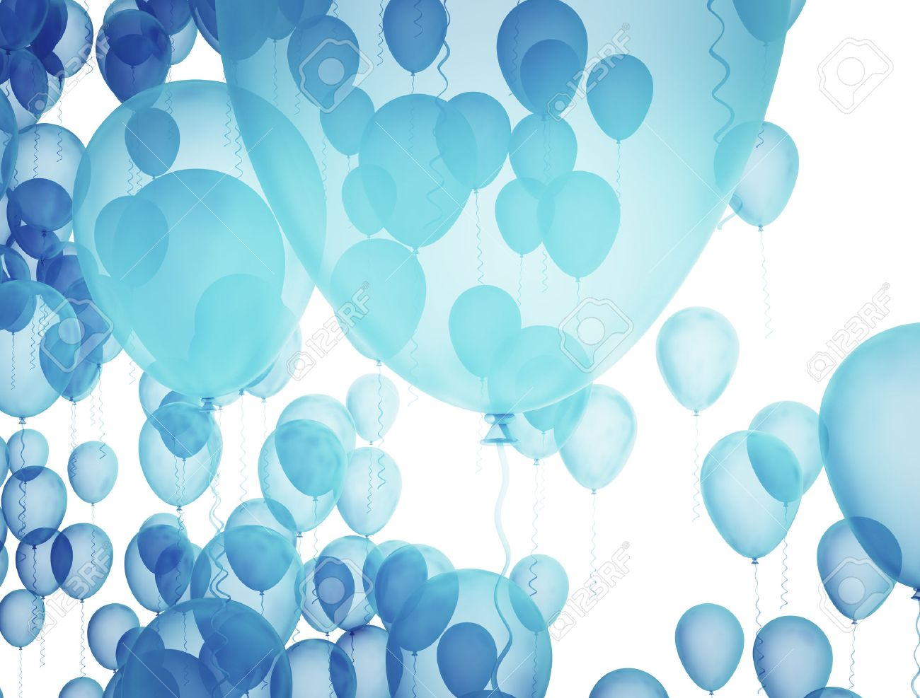 Blue Birthday Balloons Over White Background Stock Photo