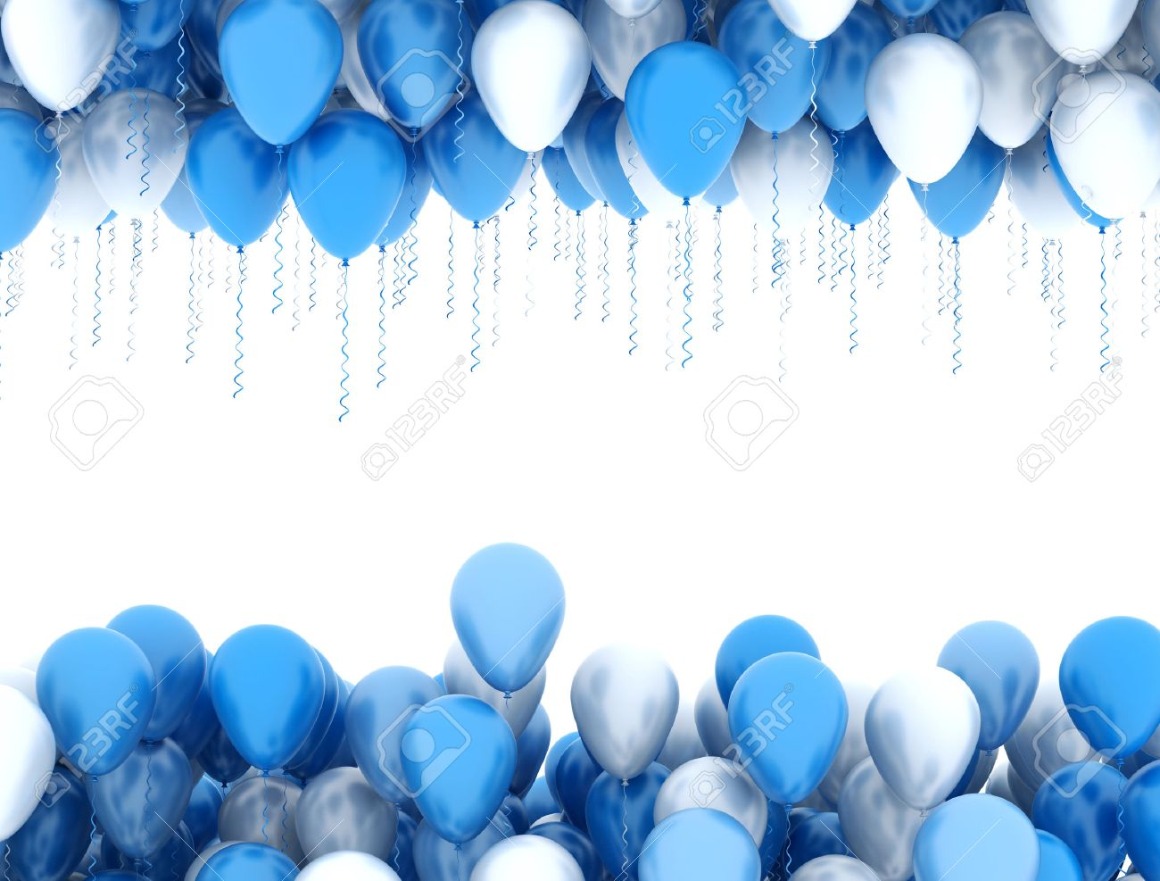 Blue party balloons isolated on white background - 57964670