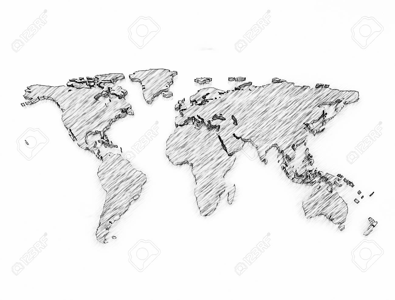 Stock photo world map pencil sketch isolated on white background