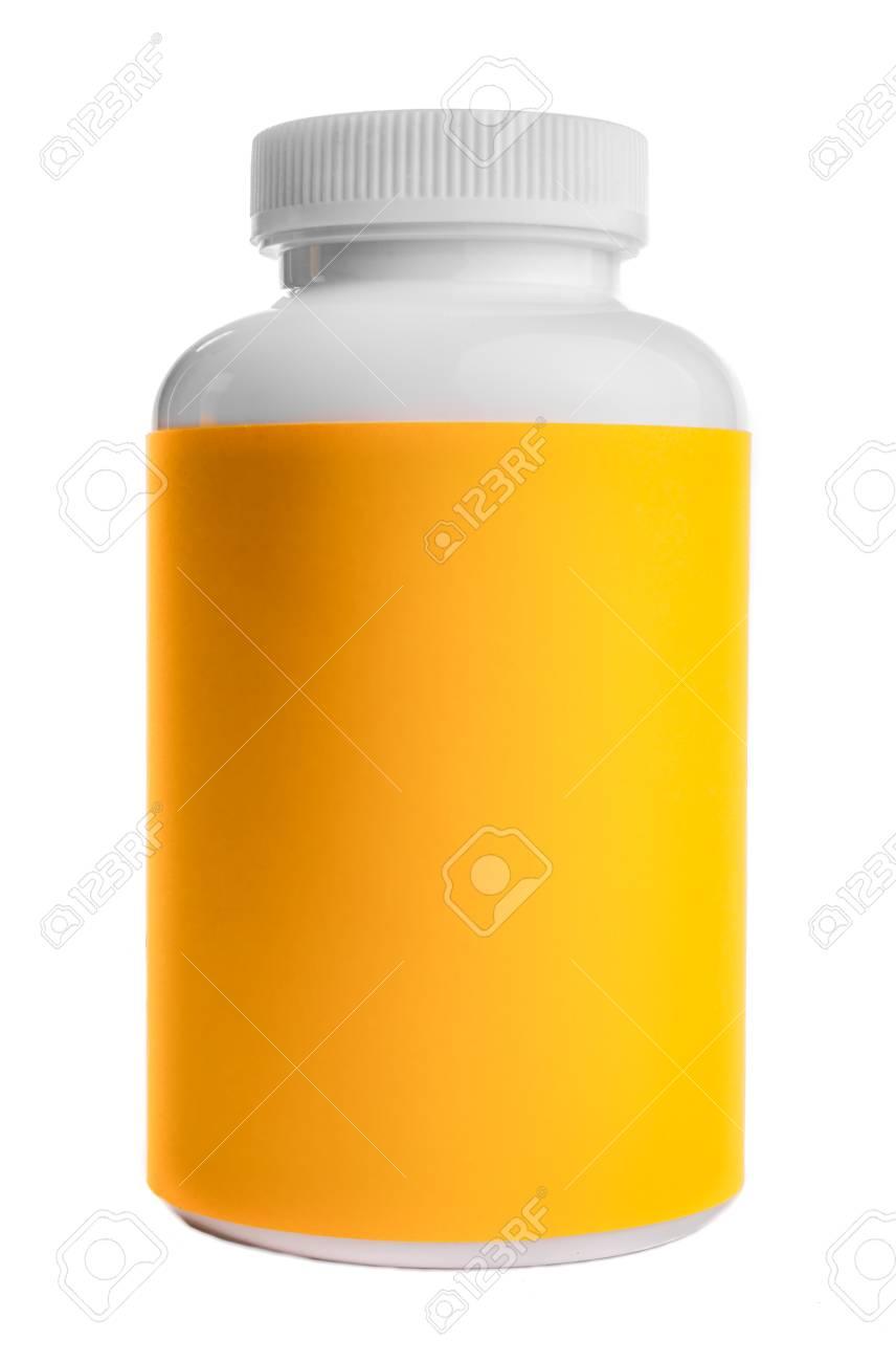 薬錠剤や丸薬 黄色ラベルなどの一般的に使用されるプラスチック容器