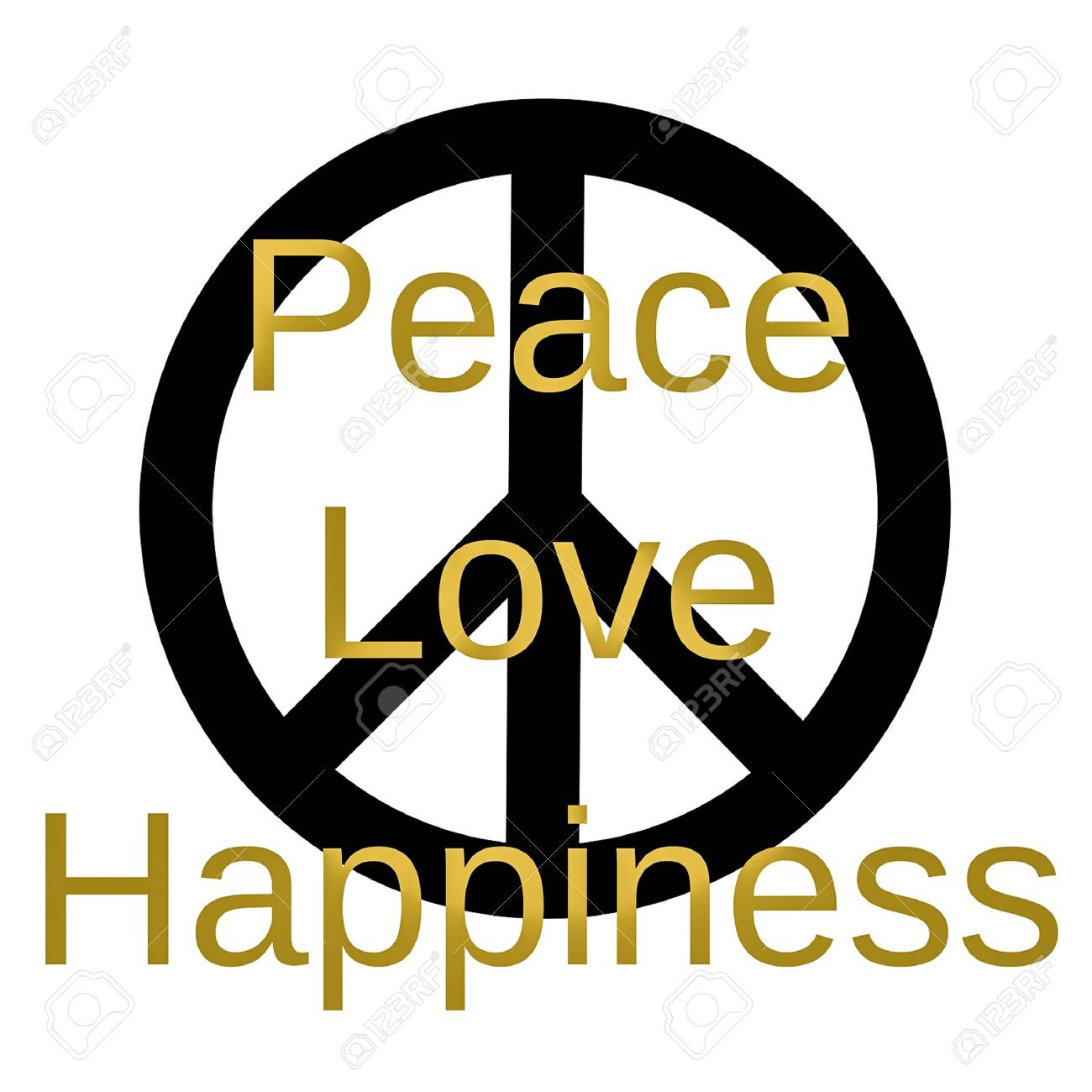 Inspirational And Mindful Quote Peace Love And Happiness In Stock