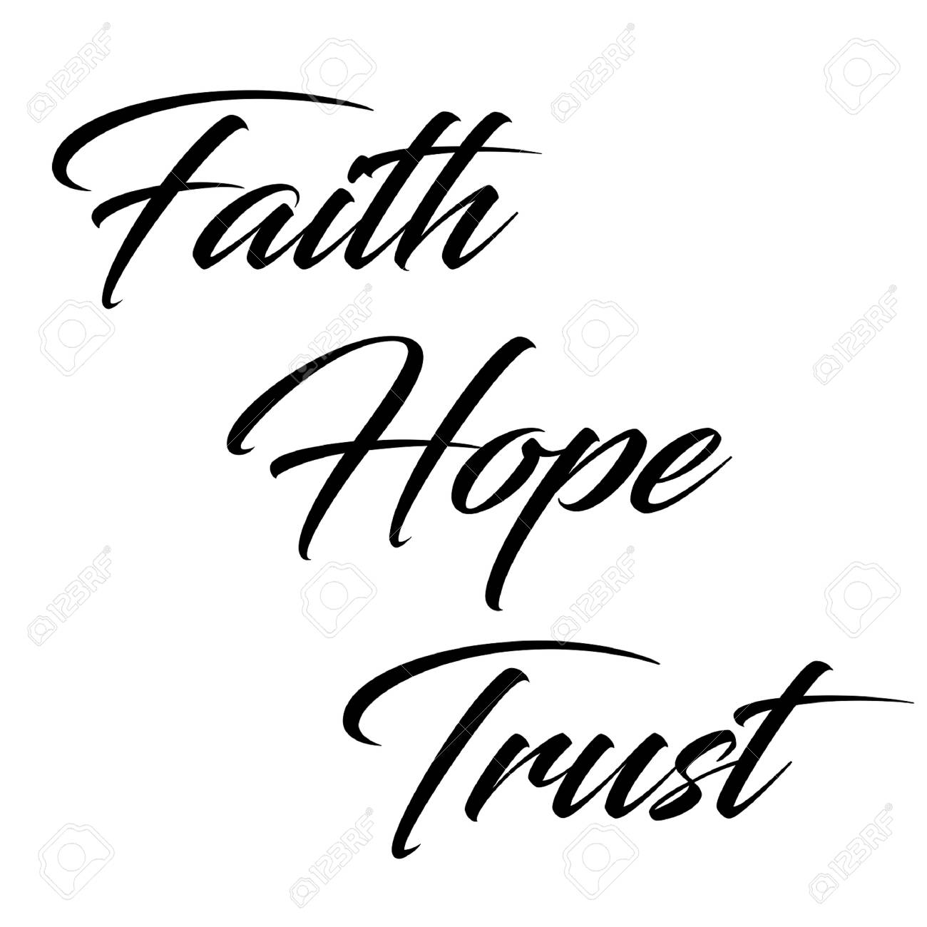 inspirational quote faith hope and trust in typography stock photo 100966135