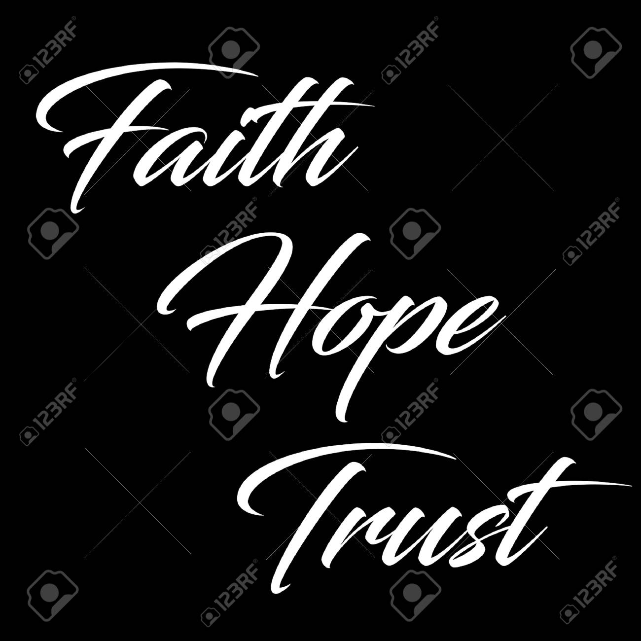 inspirational quote faith hope and trust in typography stock photo 100977049