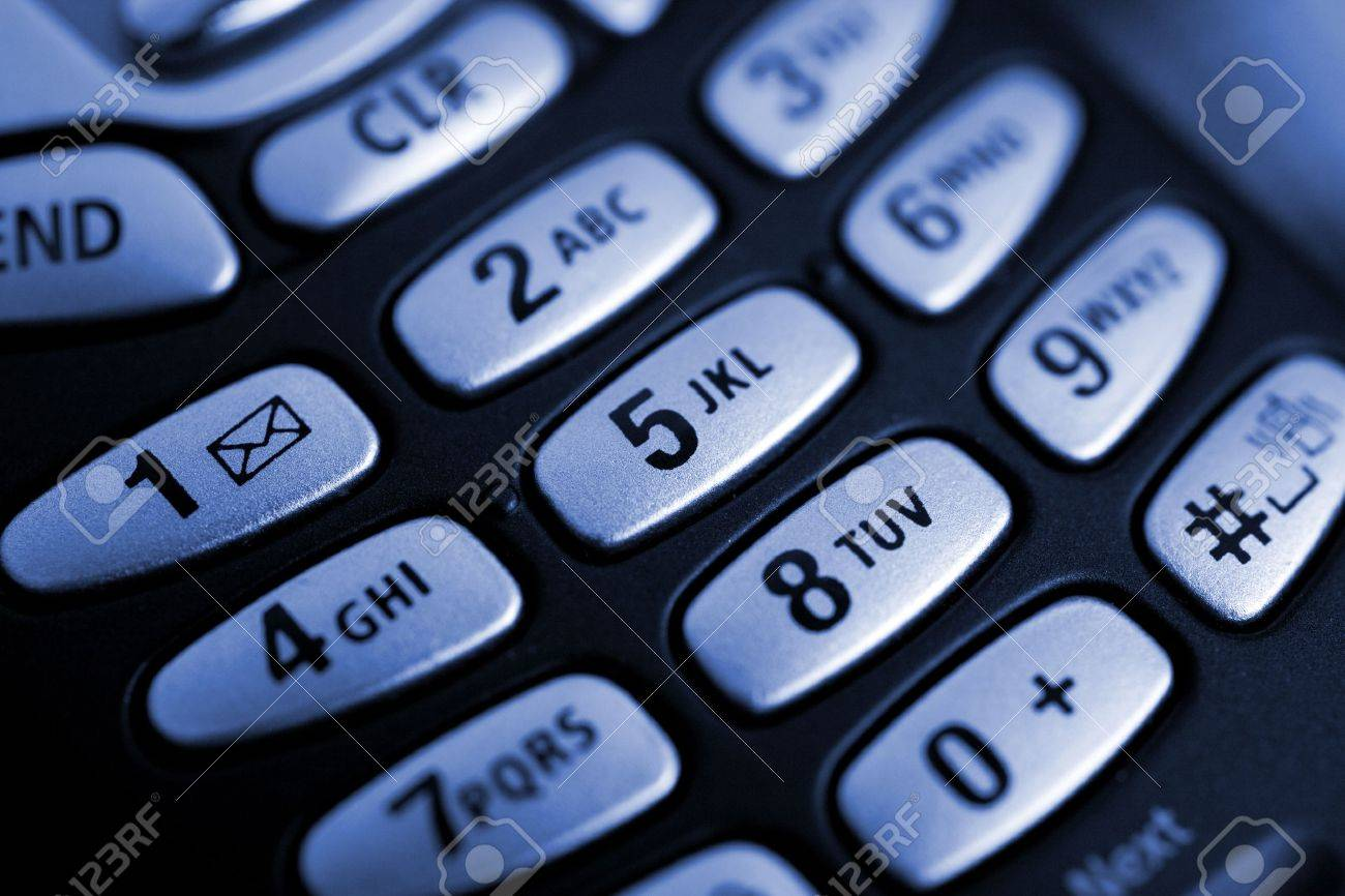Blue Toned Macro of Cell Phone Buttons Stock Photo - 963461
