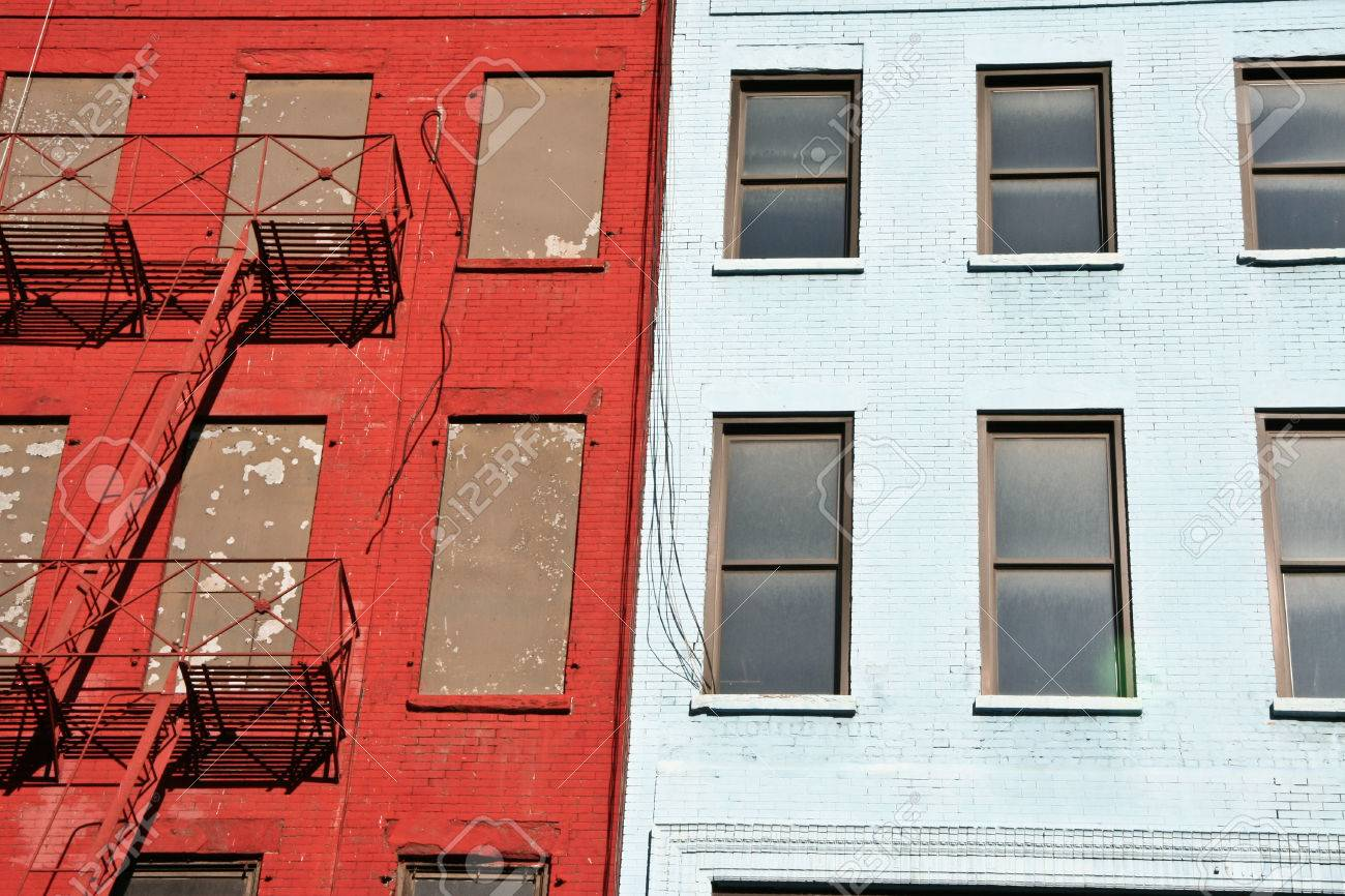 Colorful Apartment Buildings Facades With Emergency Escapes