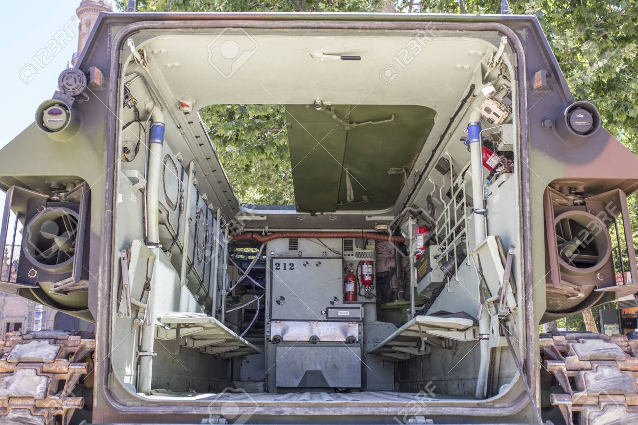 Seville Spain May 31st 2019 Assault Amphibious Vehicle Interior Stock Photo Picture And Royalty Free Image Image 141723097