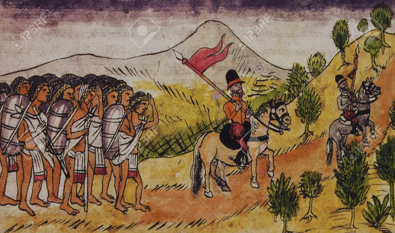Hernan Cortes marching with Tlaxcalan Allies. Duran Codex or History of the Indies of New Spain. Biblioteca Nacional, Madrid, Spain - 144192574