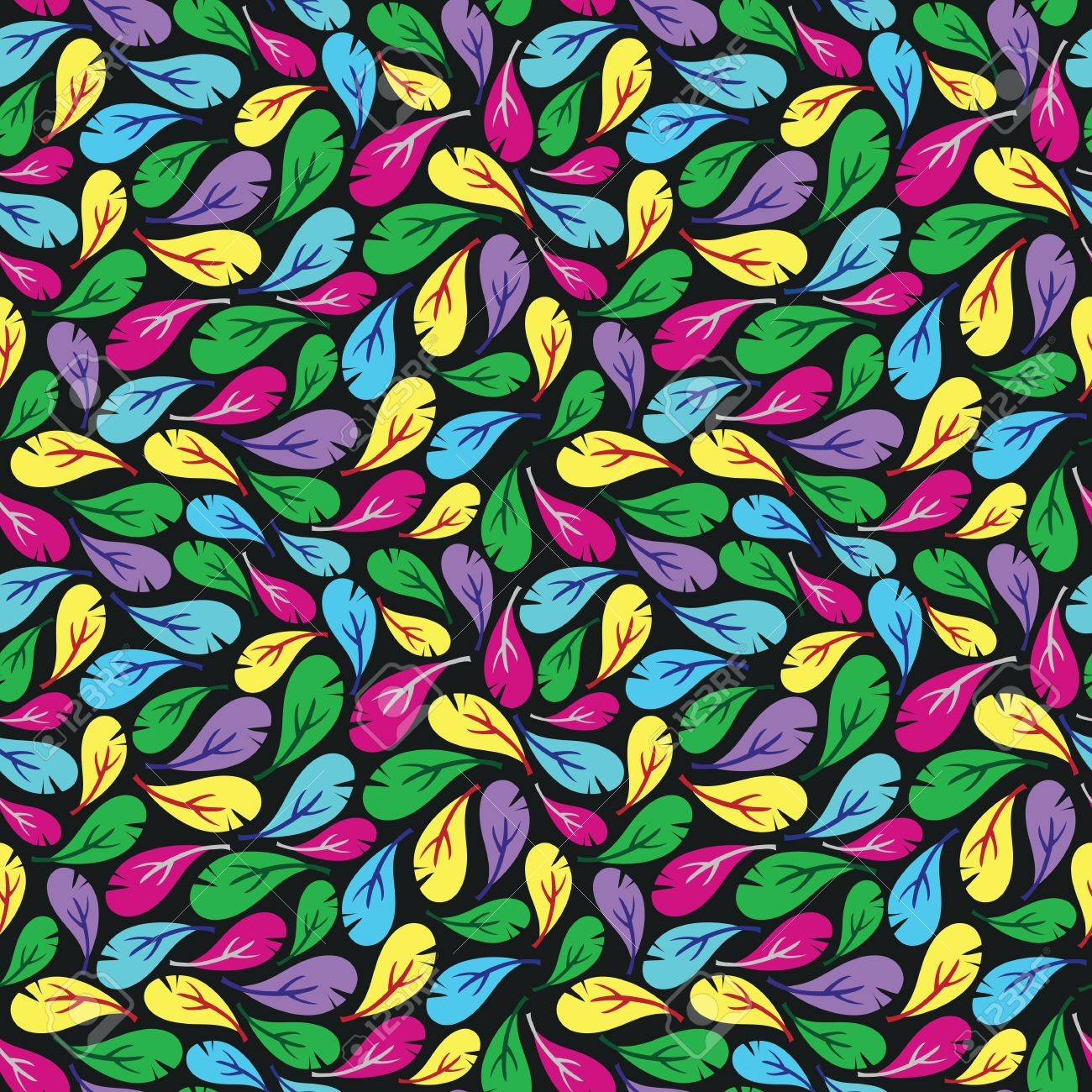 Seamless pattern with multicolor feathers on black background Stock Vector - 18024167