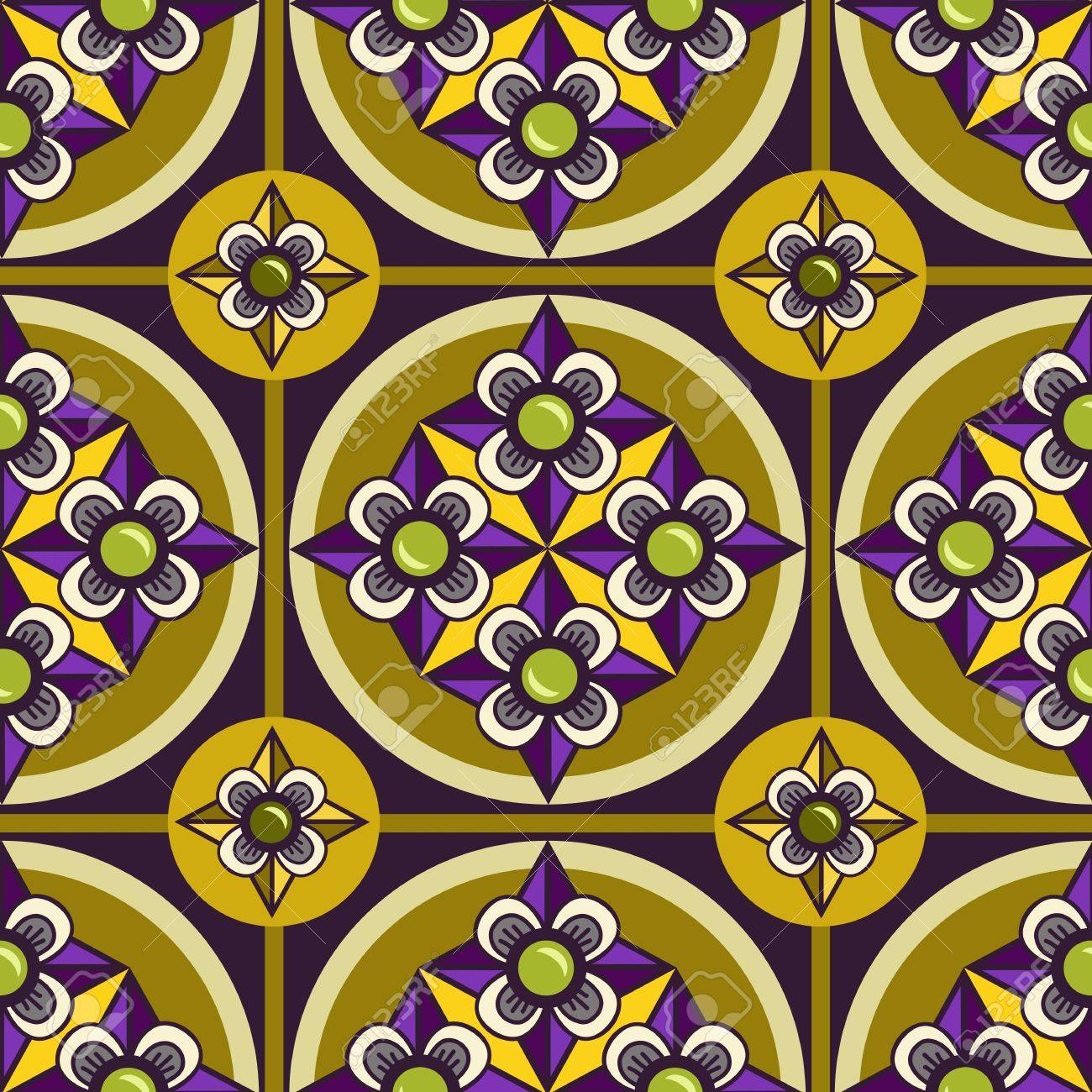 Seamless ornament pattern with violet flower and olive background Stock Vector - 18248430