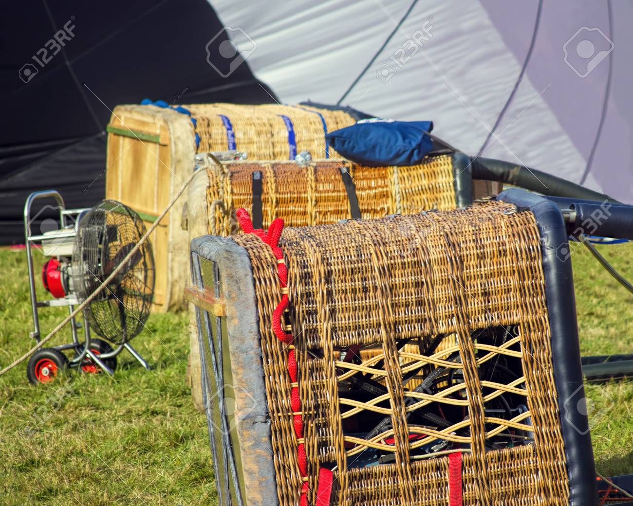 Hot Air Balloon Baskets Ready For Flying At Festival Stock Photo