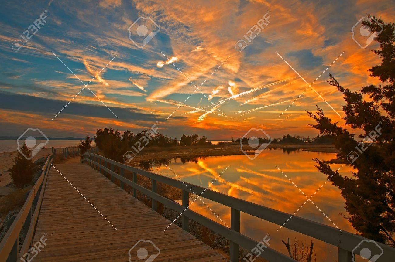 Dramatic Sunset of Sandy Hook Stock Photo - 12680481