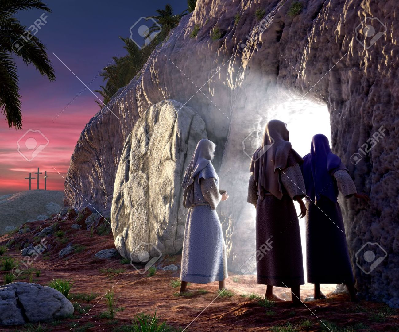 Mary Magdalene, Mary, & Salom walking up to the bright empty tomb of Jesus Christ early Sunday morning, Showing Golgotha in the background. - 7038024