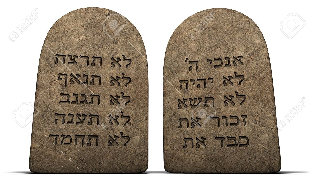 Ten Commandments on stone tablets isolated on a white background - 7039791