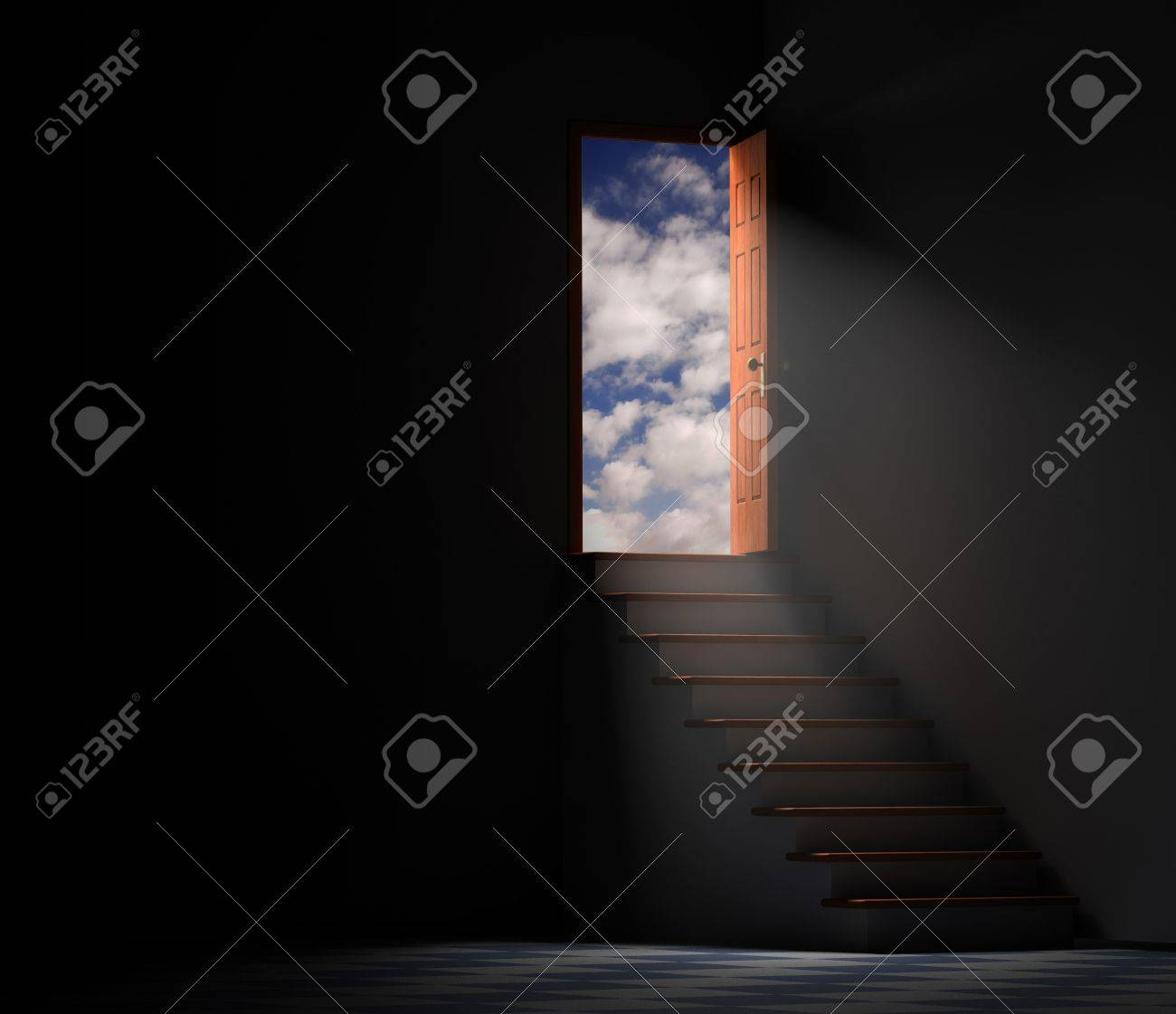 dark basement stairs. Stairway From A Dark Basement Leading To The Outside With Clouds And Blue Sky Stock Photo Stairs