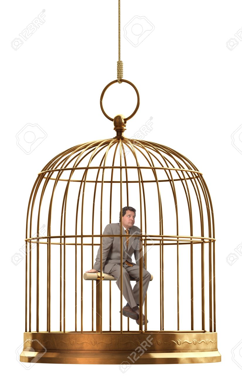 A brass birdcage hanging on a string over white Stock Photo - 9539264