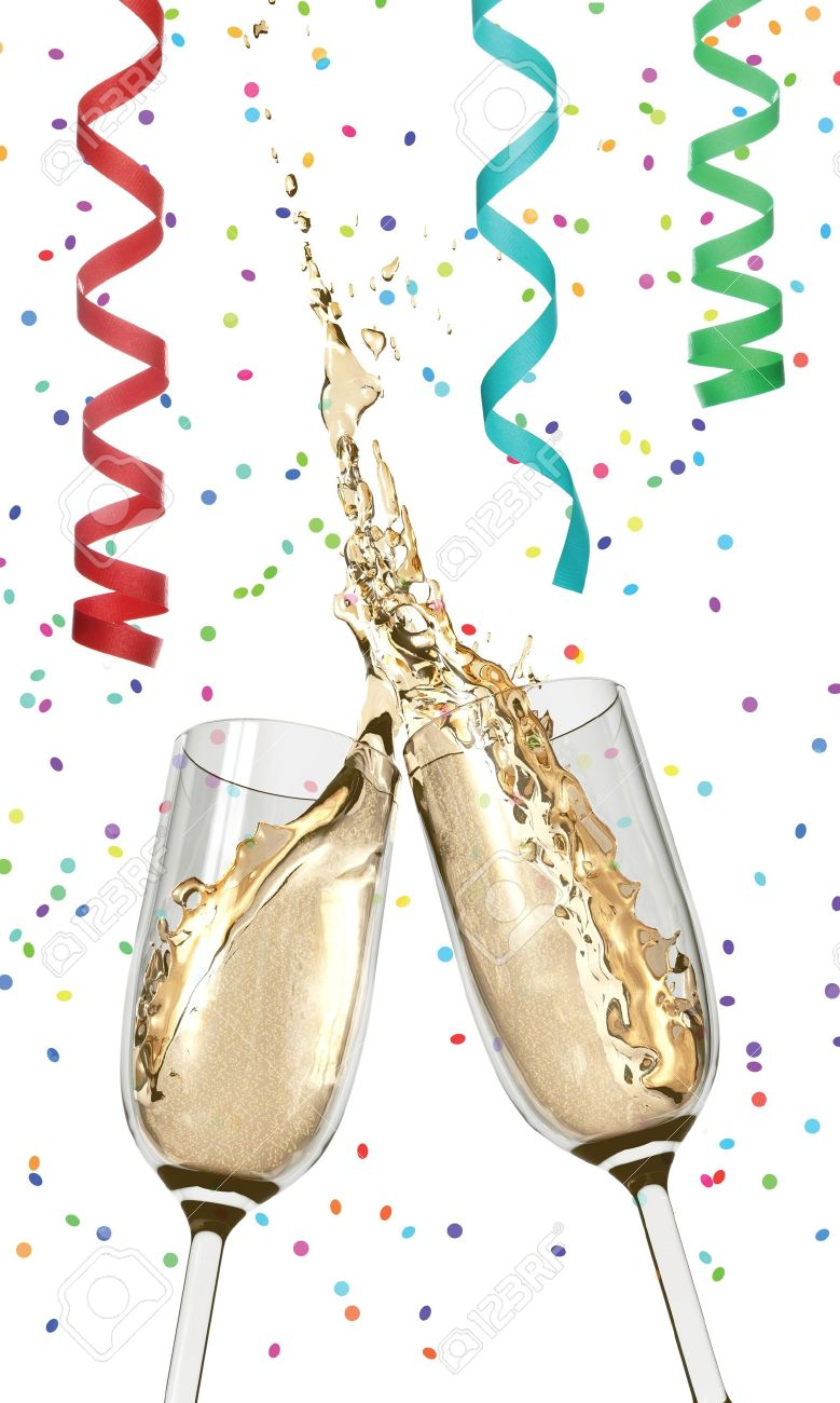Two Champagne glasses clinking together in a wet, splashy toast amidst confetti and streamers Stock Photo - 7055632