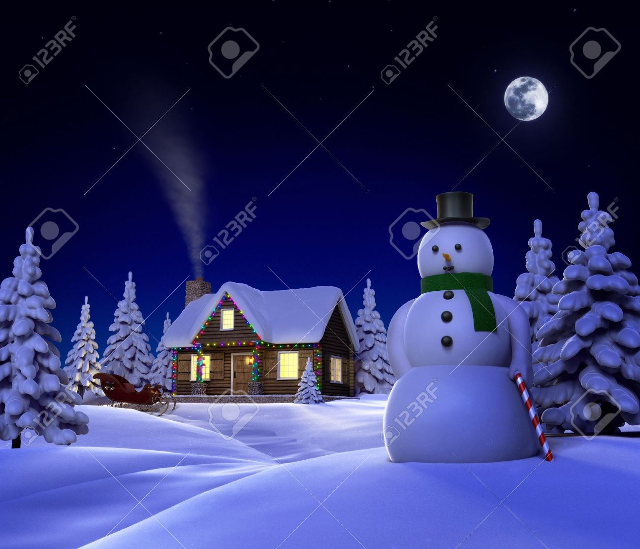 A Christmas Themed Snow Cene Showing Snowman, Cabin And Snow ...
