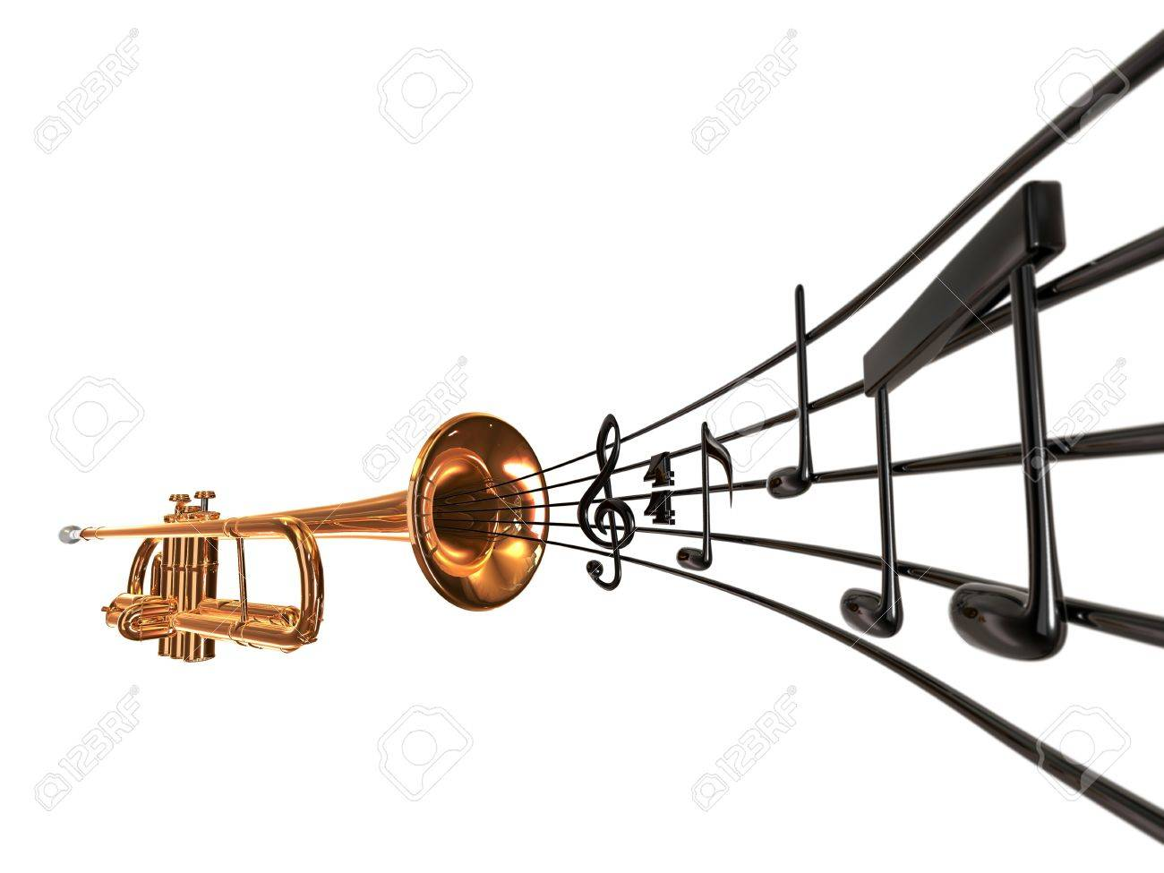 brass cornet at slight angle with a curved music score blowing