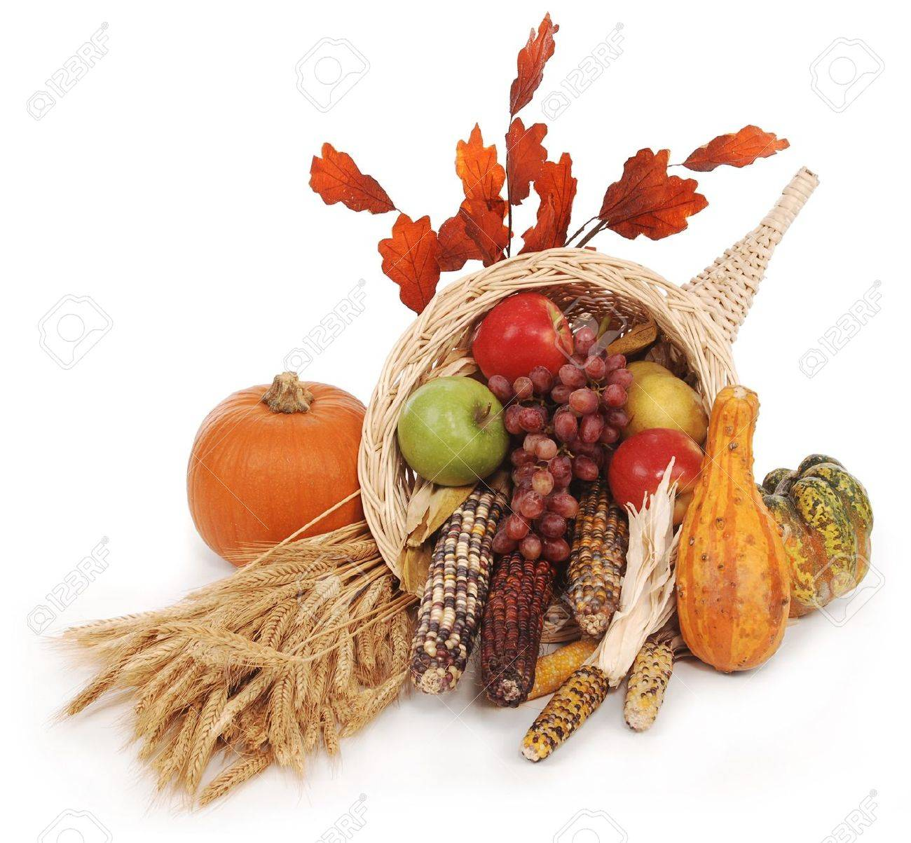 Füllhorn Mit Herbst Ernte Blätter, Weizen Kürbis, Squash, Mais ...