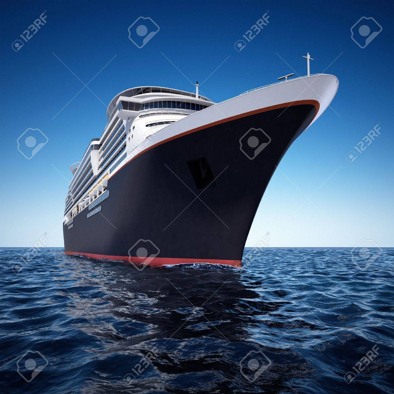 luxury white cruise ship shot from extreme angle at water level on a clear day with choppy seas and deep blue sky. Stock Photo - 7059507