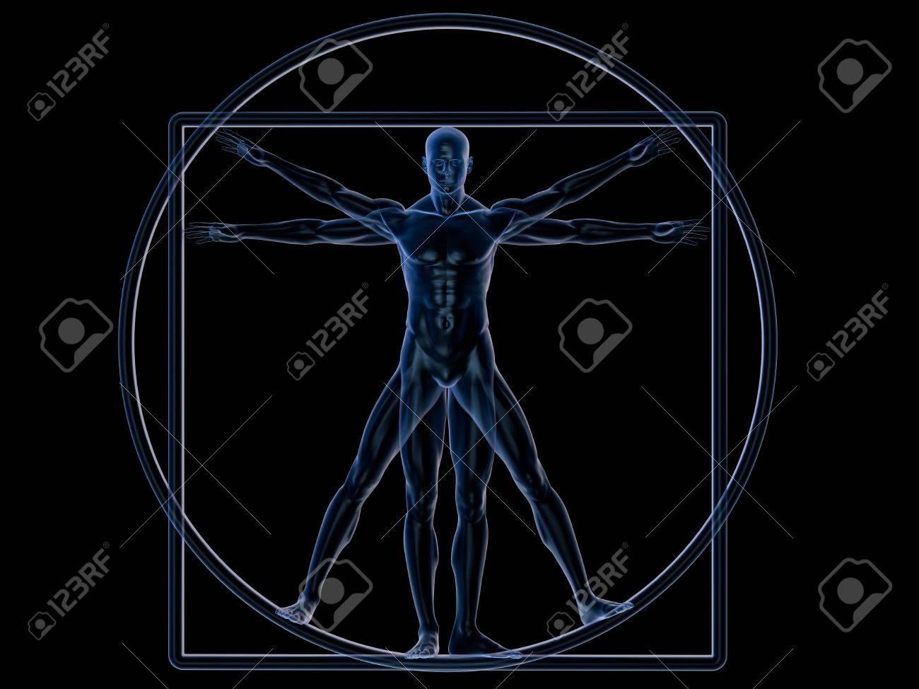 Xray Vitruvian man isolated on white Stock Photo - 7050759